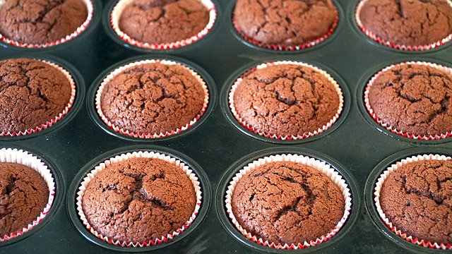 The Best Keto Chocolate Cupcakes right out of the oven