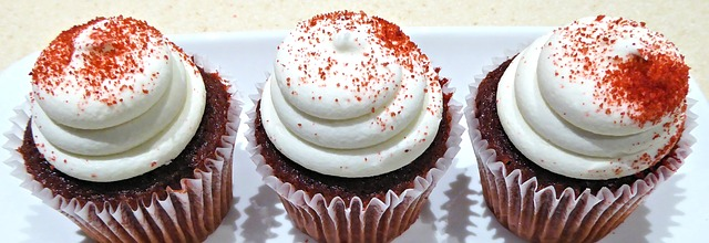 red velvet cupcakes decorated and ready to eat