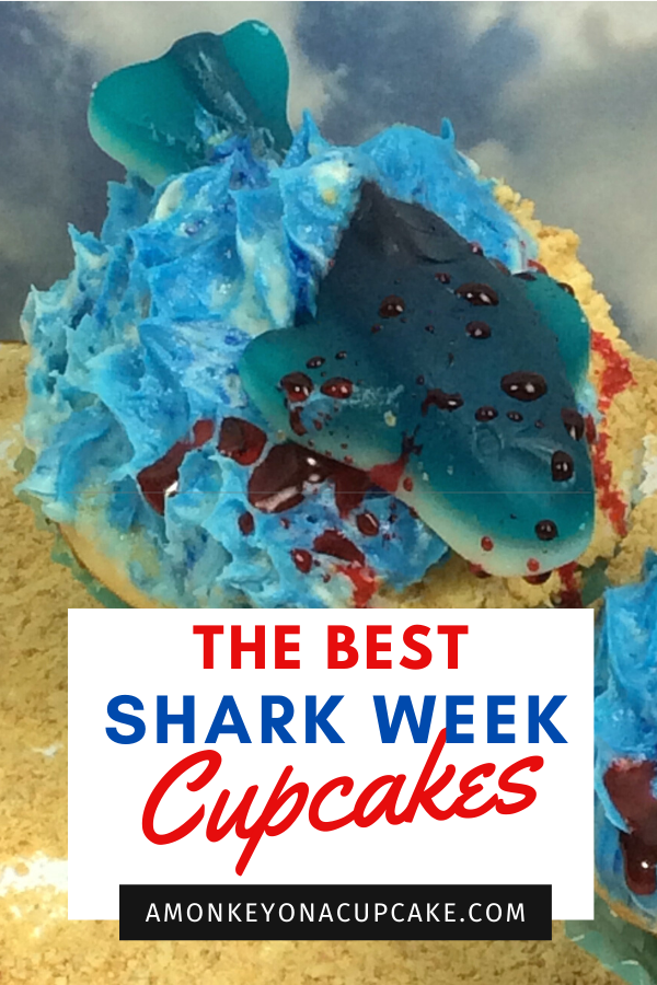 Shark week cupcakes article cover image with a shark cupcake