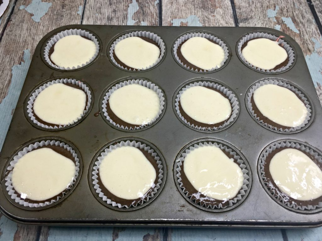 banana split cupcakes in the muffin pan ready to bake