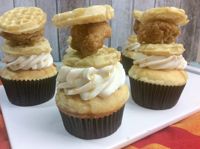 chicken and waffle cupcakes ready to serve