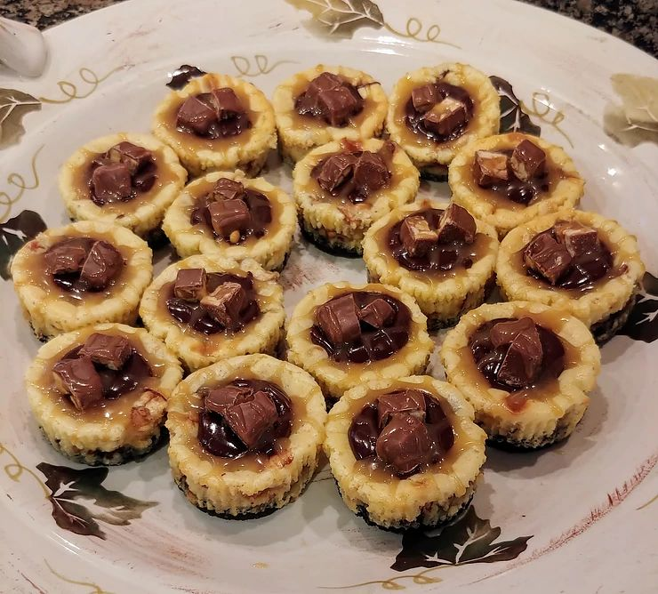 Cupcake Tin Recipes snickers cheesecakes