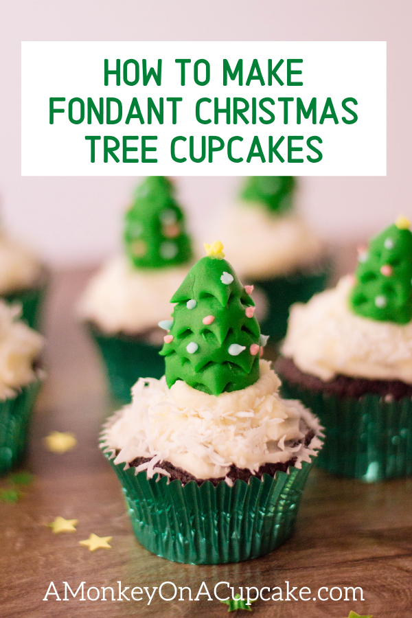 Tree Shaped Fondant Christmas Cupcake Toppers article cover image of cupcakes topped with fondant trees