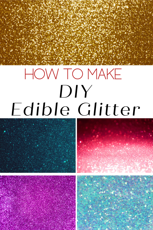 How to Make DIY Edible Glitter article cover image of different colors of glitter