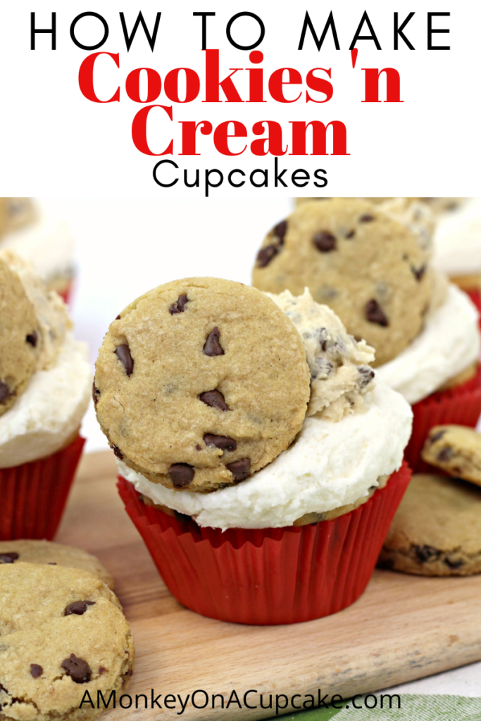 The Best Milk and Cookies Cupcakes Recipe article cover image of a milk and cookies cupcake in a red cupcake liner
