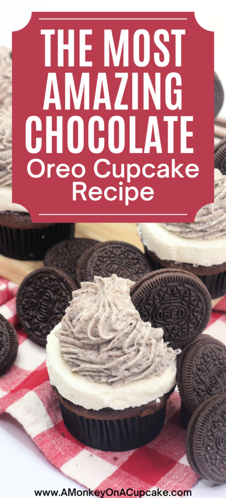 The Most Amazing Chocolate Oreo Cupcake Recipe article cover image with oreo cupcakes on it