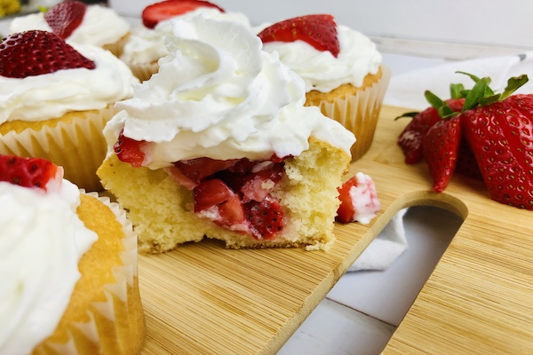 Strawberry Shortcake Cupcakes with cool whip frosting