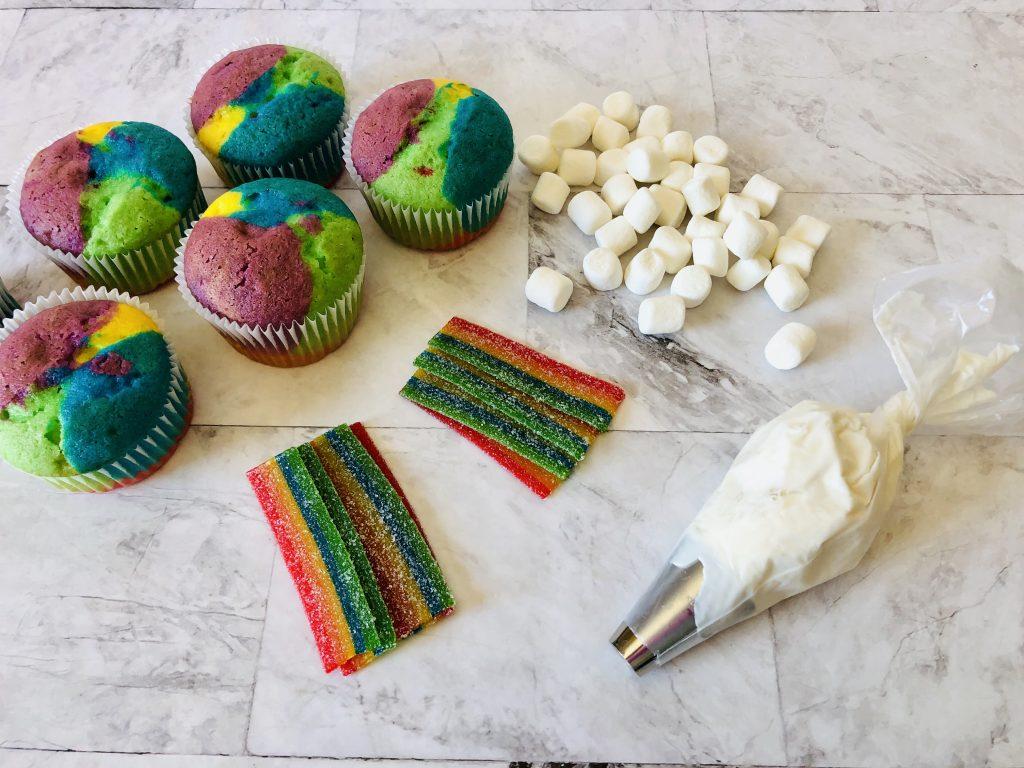 Rainbow Cupcake Ingredients: