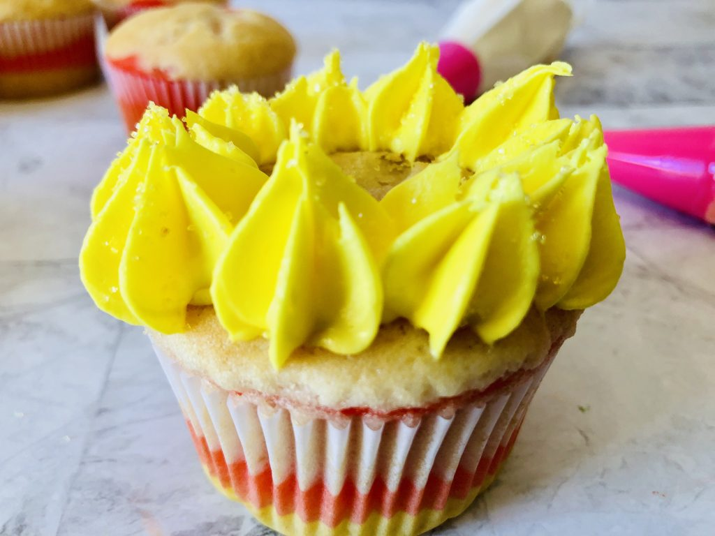 How to make candy corn cupcakes: